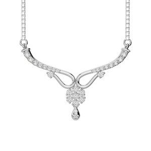 14k White gold round diamond lady necklace sparkli
